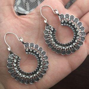 Bohemian Rhinestone Hoop Earrings